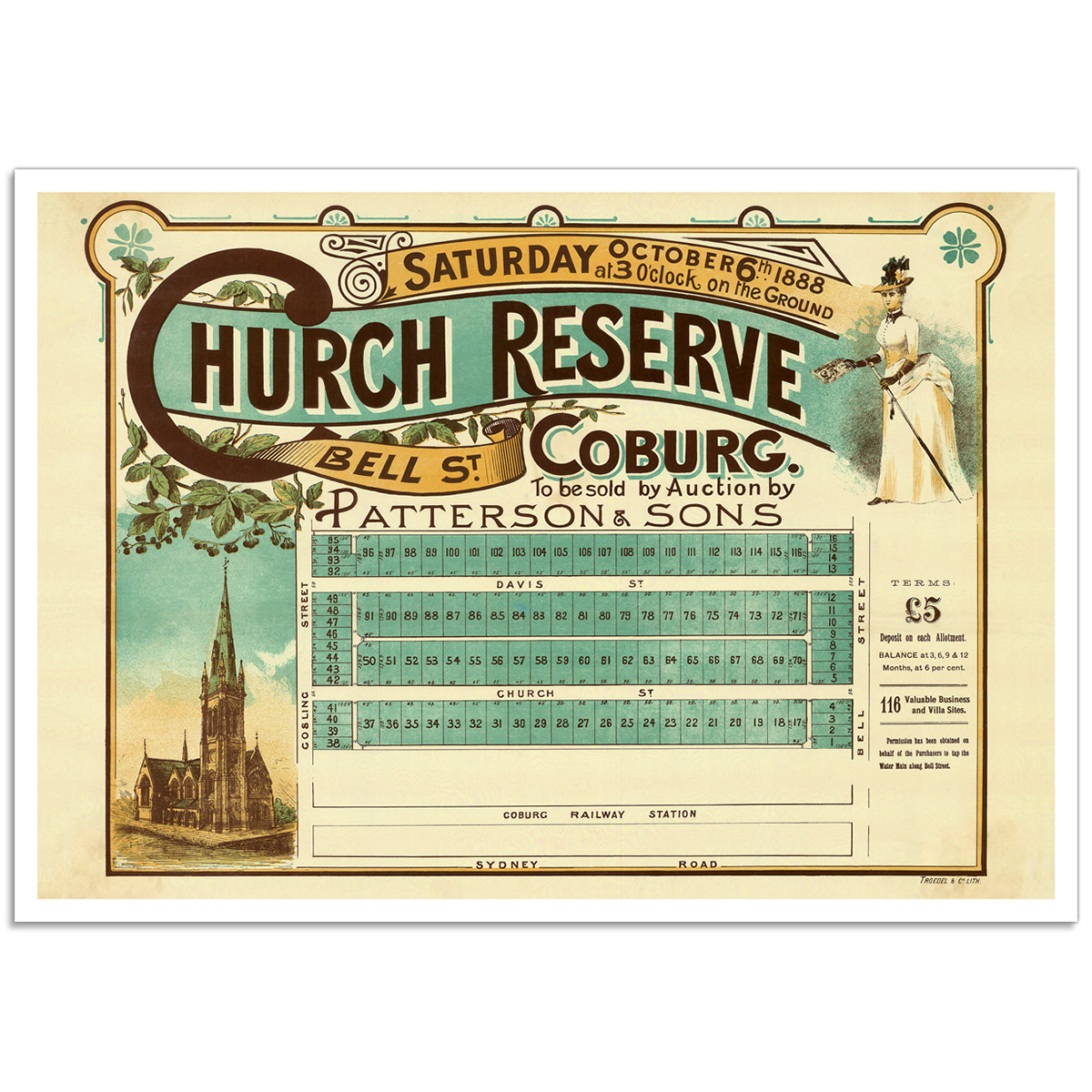 Church Reserve Bell Street, Coburg - Vintage Australian Real Estate Poster